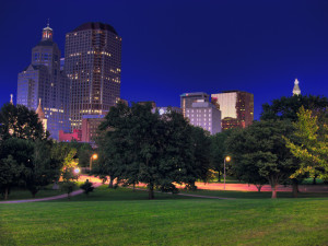 downtown Hartford at night